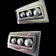 SALE Mexican 925 Silver Clip Earrings trapezoid shape 16 grams