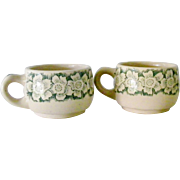 SALE Two Wallace China green on tan restaurant ware Cups Mugs Dogwood flowers