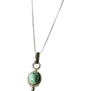 "SALE Turquoise and Silver Pendant 16"" Snake Chain"