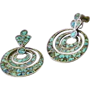SALE Vintage Silver and Turquoise Triple Hoop Drop Earrings