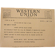 SALE Western Union Telegram February 1949 Filibuster NAACP