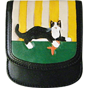 SALE Taxi the Original compact leather Wallet cat motif mint handpainted