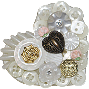 SALE Large vintage heart brooch applied buttons rhinestone
