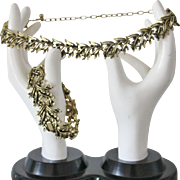 SALE Classic Gold Tone Leaves Necklace and Bracelet Set