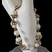 SALE Gold tone Faux Pearl Bracelet