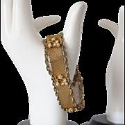 SALE Gold tone Mesh and Faux Pearl Floral Motif bracelet