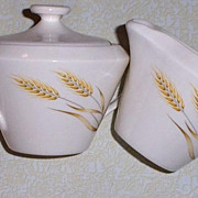 SALE Wheat Design Sugar Bowl & Creamer Set