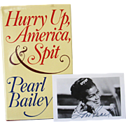 SALE Autographed photo Pearl Bailey and Signed Book Hurry Up America and Spit FIRST edition