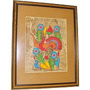 SALE Original Mexican Amate Bark Art bird, hearts and flowers