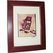 SALE Signed and Framed Antique Camera and Sepia Prints