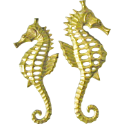 SOLD Pair of Brass Seahorse wall hanging decor sea horse figurine plaques