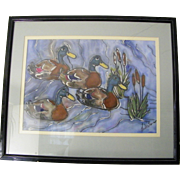 SALE Large signed framed Mallard Duck painting Unique