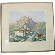 SALE Original Watercolor Landscape, Alpine Village