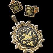 SALE Vintage Filigre Damascene Bird Pendant and earring set