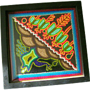 SALE Huichol Indian Yarn Painting Folk Art Mexico