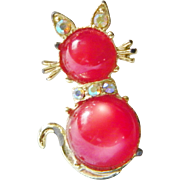 SALE Aurora Borealis Rhinestones and red Moonglow Jelly Belly Cat Brooch