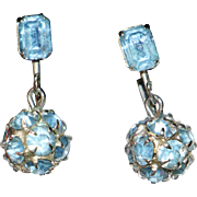 SALE Blue Rhinestone Ball Drop Earrings
