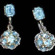 SALE Blue Rhinestone Ball Drop Earrings