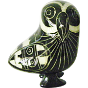 SALE Tonala Mexican blackware pottery Owl bird figurine folk art
