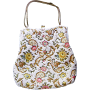 SALE Embroidered Beaded  White Floral Evening Bag Purse Gold tone frame