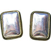 SALE Large Taxco Sterling Silver Clip Earrings 27.6 grams Mexico Silver