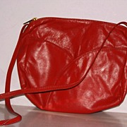 SOLD Red Leather shoulder bag  purse new with tags - Red Tag Sale Item