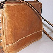 SALE vintage brass studded Brown Leather handbag