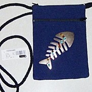 SOLD Cross Body Purse  Metal Fish and Glass Beads New with tags