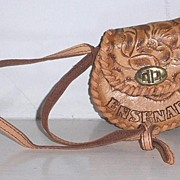 SALE Tooled Leather Handbag child size  Mexico Mint