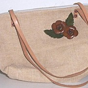 SOLD Tweed Purse 100% Leather Trim Mint!