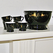 SALE 6 Vintage Black Tom and Jerry Mugs and Bowl set restaurant ware