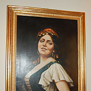 SALE 1900s Italian Gypsy Oil Painting in Original Gilt Frame