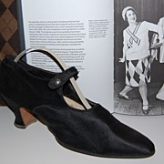 SOLD Authentic 1920s Black Silk Flapper Heels ~ Amazing Condition!
