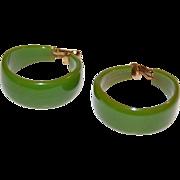1960s Chunky Lime Green Bakelite Hoop Earrings