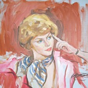 SOLD 1978 Pensive Lady Original O/C Portrait Painting ~ Signed