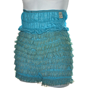 Turquoise Blue Rumba Ruffled Lace Pettipants or Bloomers ~ Extra Large Size