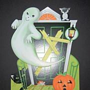 SALE 1960s Halloween Ghost & Haunted House Die-Cut