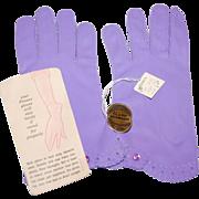 SALE 1950s JC Penney Lilac Purple Nylon Gloves w/ Original Tags