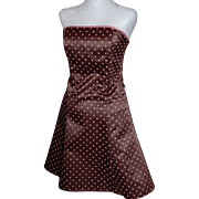 SALE Jessica McClintock Gunne Sax Chocolate Brown & Pink Polka Dot Dress