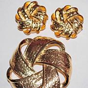 SALE 1980s Premier Designs ~ Goldtone Pinwheel Demi-Parure