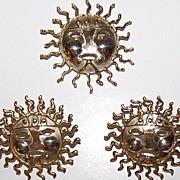 SALE Mid-Century Modernist Smiling Sun Demi-Parure