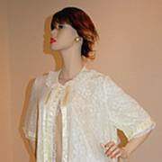 SALE 1950s Odette Barsa ~ Yellow Nylon Lace Peignoir Robe