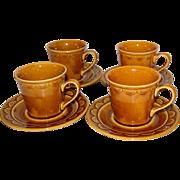 SALE 1970s Homer Laughlin Golden Harvest Set of 4 Cups w/ Matching Saucers