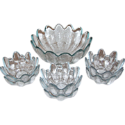 SALE Blenko ~ Icy Blue Textured Petal Salad Bowl w/ 6 Bowls