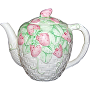 SALE 1989 Haldon Group ~ Strawberry Basketweave Ceramic Teapot