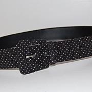 SALE 1980s Asymmetric Buckle ~ B&W Polka Dot Fabric Belt