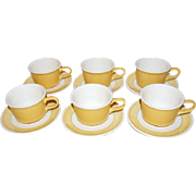 SALE Set of 12 Sunflower Yellow Ceramic Cups & Saucers ~ Made in USA
