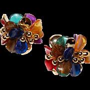 SALE 1950/60s Huge Multi-Colored Lucite Sputnik Clip Earrings