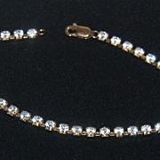 "SALE Vintage 7"" Clear Rhinestone Bracelet w/ Lobster Clasp"