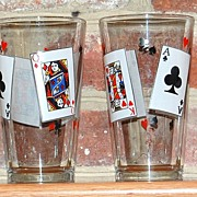 SALE 1970s King & Queen Card Glasses ~ Set of 4